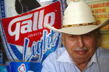 Porfirio after drinking a cerveza Gallo